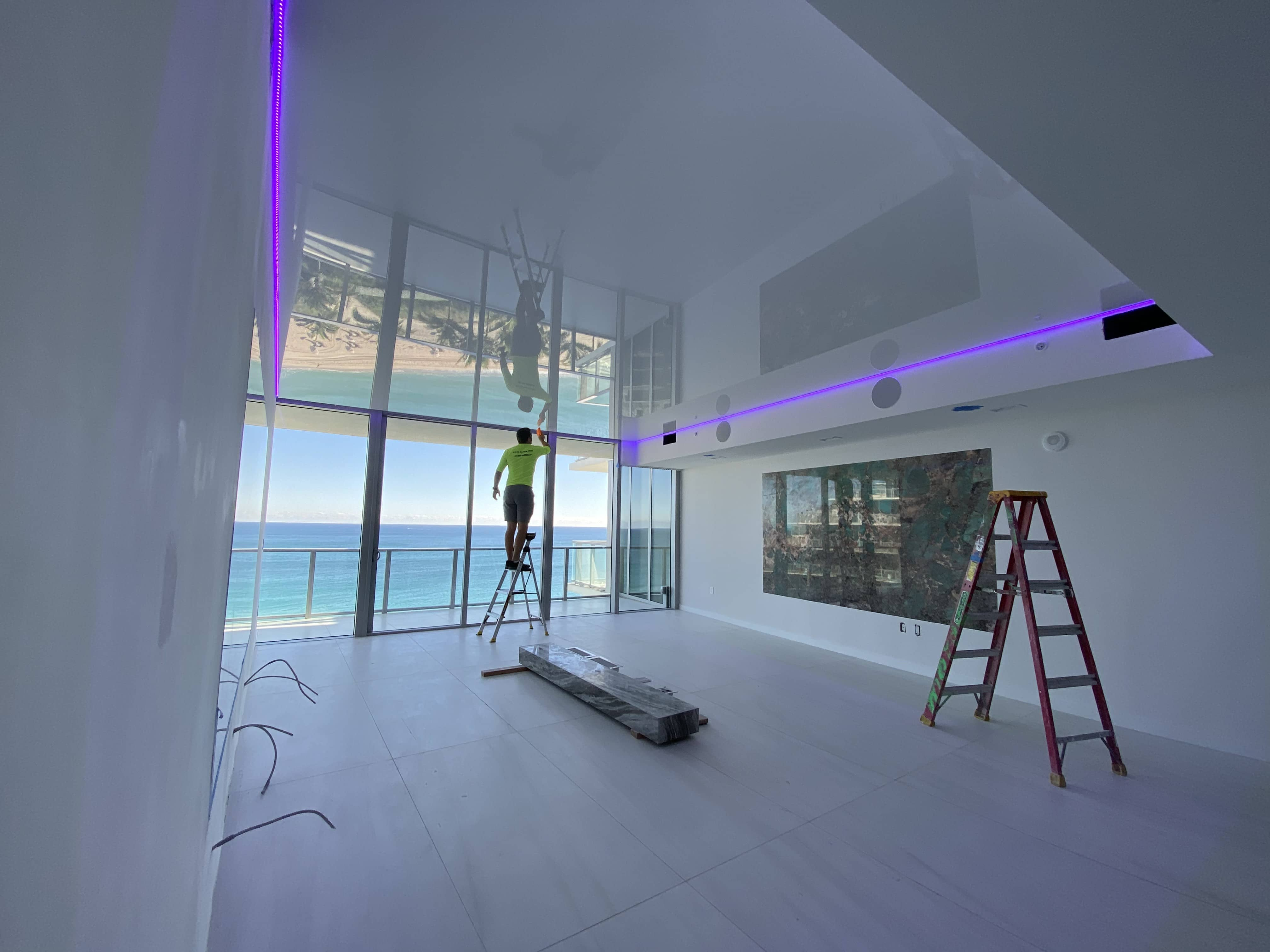 high gloss stretch ceiling installation
